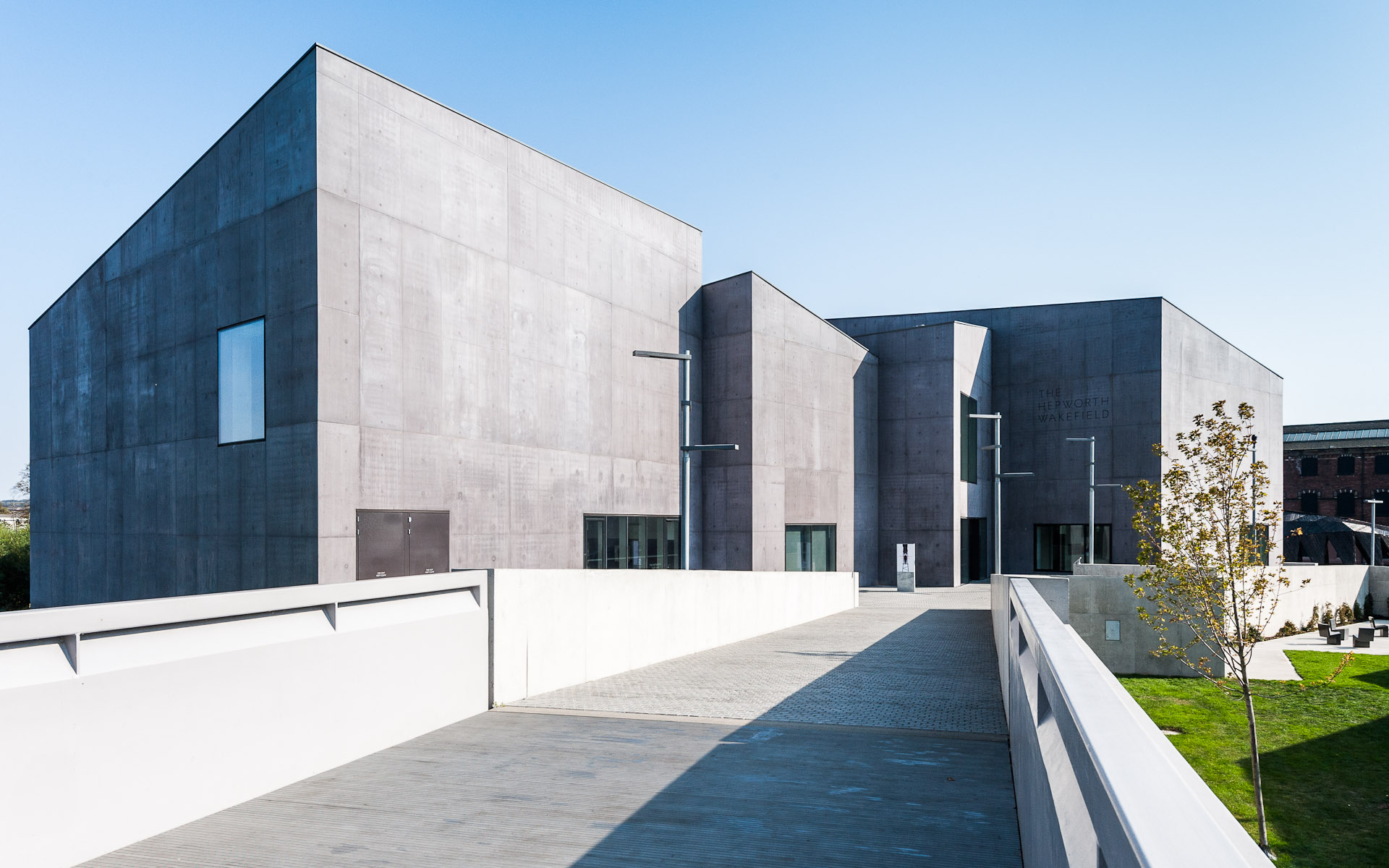 Exterior daytime photograph of Hepworth Wakefield gallery in West Yorkshire England
