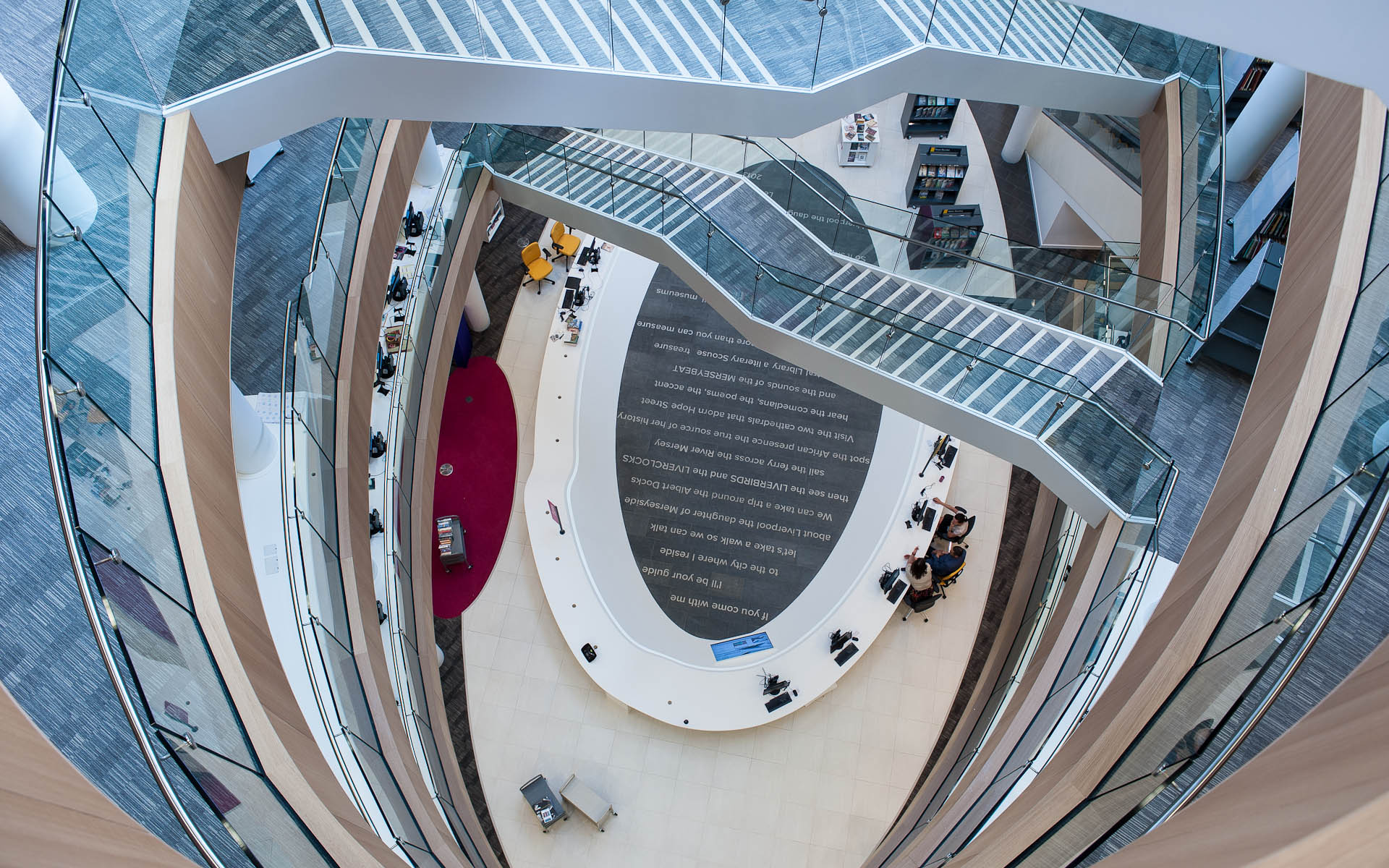 Interior architectural photography aspect of Liverpool Central Library, England